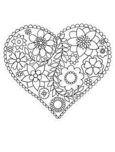 heart flower Valentines Abstract Doodle Zentangle Paisley Coloring ...