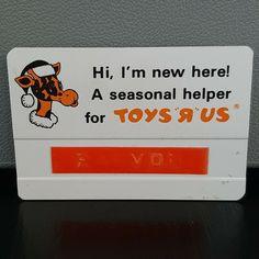 Vintage 1980's Toys R Us Christmas Geoffrey Giraffe Uniform Employee Name Tag #ToysRUs