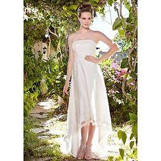 Sheath/ Column Strapless Asymetrical Tulle Over Satin Wedding Dress – EUR € 164.99