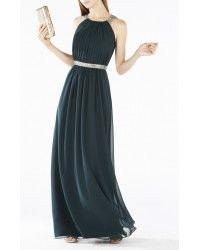 Bcbg Maxazria Celestine Beaded Halter Gown Dress IQI68F77-K3F