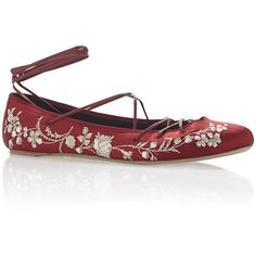 Etro Berry Floral Embroidered Satin Ballet Flat with Leather Ankle... ($1,115) ❤ liked on Polyvore featuring shoes, flats, leather ballet shoes, ballerina flat shoes, ballet flat shoes, satin ballet shoes and ballet shoes