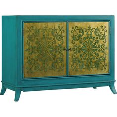 Elegantly detailed in turquoise and gold, this gleaming chest makes a bold addition to your master suite or living room.Product: ...