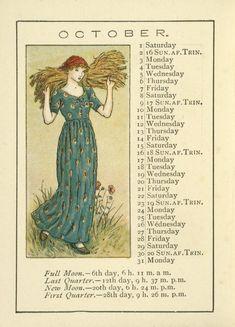 Image Title:  October. Creator: Greenaway, Kate, 1846-1901 -- Artist Source: Almanack for .... / Kate Greenaway's almanack for 1892.