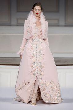 Oscar de la Renta pink ball gown and jacket