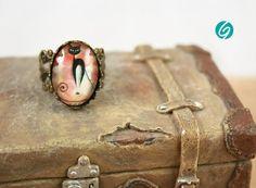 Bague vieux rose 13 x 18mm - pastel - cabochon de verre chat - cuivre antique - sans nickel - Fait au Québec - fait main par Créations GEBO