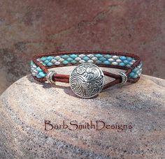 Cuir argent turquoise Wrap Bracelet en perles par BarbSmithDesigns