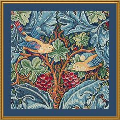 Free Shipping Acanthus and Birds Counted Cross Stitch Pattern -  William Morris Arts and Crafts Style. $7.99, via Etsy.