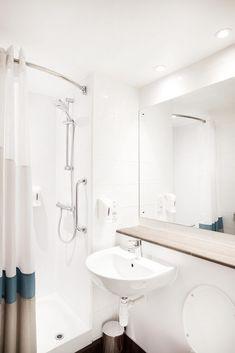 Interior hotel bathroom refit Travelodge SuperRoom rollout by TROY group Hotel Interiors, New Room, Troy, Bathtub, Bathroom, Standing Bath, Washroom, Bathtubs, Bath Tube