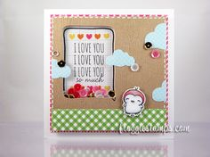 Copic shaker card using the Mama Elephant - Love Quotes stamp set along with the matching die set. Made by Kelli