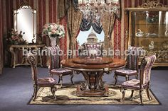 Deluxe Palace Dinning Furniture, Exquisite Wood Carving Dinning Set, Vintage Dinner Table For Six