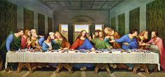 Leonardo da Vinci - The Last Supper Restored (I think this is an ancient copy in oil of Leonrdo`s Last Supper).