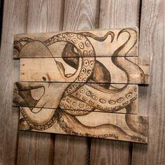 Impression dart de pieuvre Octopus art déco océan plage