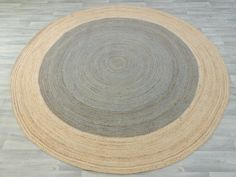Natural Grey Jute Round Rug Size: 300 x 300cm