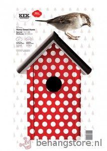 KEK Amsterdam Home sweet home (rood) - Birds Collection - KEK Amsterdam - KEK Amsterdam - Behang KIDS en Baby - Behangstore