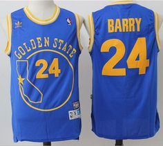 #Warriors #24 Rick Barry Blue Throwback Golden State Stitched #NBA #Jersey