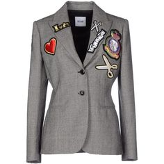 Moschino Cheapandchic Blazer (4.345 VEF) ❤ liked on Polyvore featuring outerwear, jackets, blazers, grey, grey blazer, gray jacket, flannel jacket, collar jacket and single breasted jacket