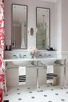 sarah richardson sarah 101 ensuite pink black white pedestal marble sink