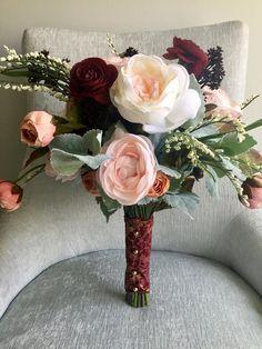 5 Eye-Opening Tips: Wedding Flowers Fall Reception Ideas modern wedding flowers cascade bouquet. Small Bridal Bouquets, Silk Bridal Bouquet, Silk Wedding Bouquets, Fall Bouquets, Flower Bouquet Wedding, Poppy Bouquet, Blush Bouquet, Bridesmaid Bouquets, Brooch Bouquets