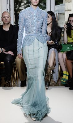 Georges Hobeika~Fall 2012, Chiffon skirt with godets and periwinkle blue lace jacket