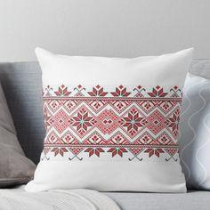 'Palestinian embroidery - mug printing' Throw Pillow by HosamH Cushion Embroidery, Hand Embroidery Stitches, Hand Embroidery Designs, Cross Stitch Embroidery, Cross Stitch Borders, Cross Stitch Designs, Stitch Patterns, Mug Printing, Printing On Fabric