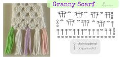 BUFANDA GRANNY (Patrón Gráfico) Several people have asked how to make the stitch for the granny scarf. Crochet Scarf Diagram, Easy Crochet Patterns, Crochet Granny, Crochet Shawl, Crochet Stitches, Knit Crochet, Crochet Winter, Granny Stripes, Crochet Videos