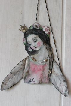 """original mixed media metal from my fire love fairy princess angel with sterling silver accents  8x7""""  k d milstein fadedwest"""