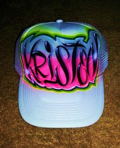Airbrush Trucker Hat Graffiti Style Airbrush by BizzeeAirbrush