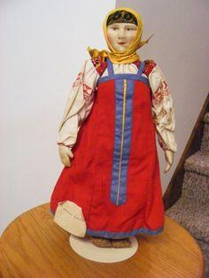 "Rare Antique 1920's 14 1/2"" Russian Soviet Union Stockinette Smolensk Woman Doll #Allclothdoll"