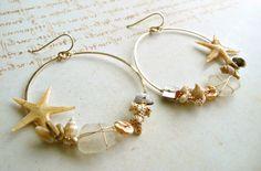 Starfish Earrings, Beach Shell Earrings, Gold Filled Shell Hoop Earrings, Sea Glass Hoops, Starfish Hoops. $60.00, via Etsy.