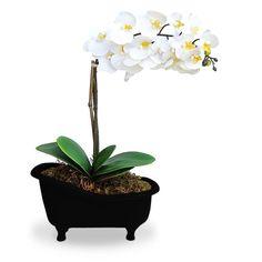 Arranjo de Flores Artificiais Orquideas Brancas Cachepot Banheira Preta