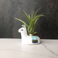 Mini Llama, Air Plant Holder, Whimsical Llama Art, Animal Totem, Home Office, Cubicle Decor, Cute Desk Accessories, Birthday Gifts for Women by BitsofSilver on Etsy https://www.etsy.com/listing/513283792/mini-llama-air-plant-holder-whimsical
