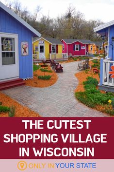 If you're looking for a fun unique shopping destination in Wisconsin this is it. This colorful shopping village offers great gifts food ice cream an Amish store and more. Wisconsin Attractions, Wisconsin Vacation, Wisconsin Dells, Beloit Wisconsin, Lake Geneva Wisconsin, Weekend Trips, Day Trips, Amish Country, Country Roads