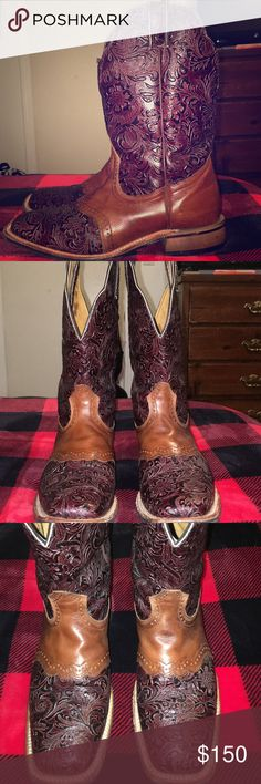 ⭐️⭐️Women's size 11 hand-tooled Boulet boots⭐️⭐️ These have only been work a couple times ( the photo with the inside sizing still has a plastic tag)! I got them as a gift, and they just aren't really my style. Rare size 11, and at $150 these are a steal! This style is discontinued, so rest assured these unique boots make quite a statement! Lots of compliments, I hope to see them go to a good home. Offers welcome! Happy shopping ladies! ⭐️⭐️ Shoes