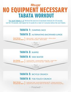 This time-saving tabata session works your entire body in just under 40 minutes. And with no equipment needed, you have no excuse not to give it a try. Click here for a printable PDF of the workout. Take it to the gym or tape it to your fridge to remind y