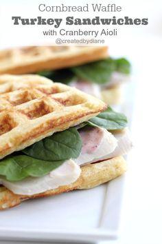 Cornbread Waffle Turkey Sandwiches with Cranberry Aioli