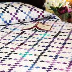Opalesque: Scrappy Gemstone Nine-Patch Bed Quilt Pattern