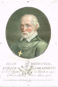 Jean Hennuyer, Evêque de Lisieux; Né à St Quentin en Picardie, en 1497; Mort à Lisieux le 10 Août 1578 - gravé par Ridé en 1788 d'après Sergent - série F n°5 - MAS Estampes Anciennes - Antique Prints