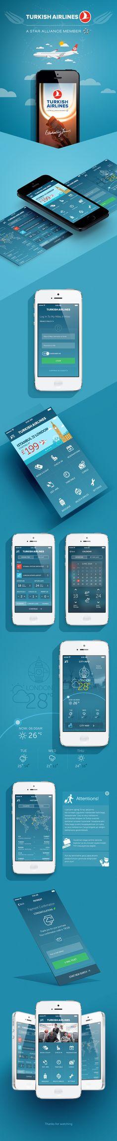 Turkish Airlines App Redesign by Murat Gürsoy, via Behance. Web Design, App Ui Design, User Interface Design, Flat Design, Graphic Design, Mobile Application Design, Mobile Ui Design, Email Application, Design Thinking