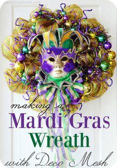 DIY Mardi Gras Wreath Tutorial