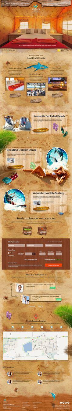 Unique Web Design, Makara Resorts #WebDesign #Design (http://www.pinterest.com/aldenchong/)