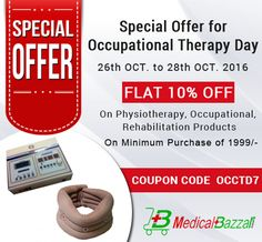 Hurry up!! Order Now & Get Flat 10% #OFF on #Physiotherapy, #Occupational & #Rehabilitation Products - https://medicalbazzar.com