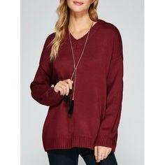 V Neck Drop Shoulder Loose Sweater