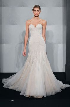 Bridal Gowns: Mark Zunino Mermaid Wedding Dress with Sweetheart Neckline and Dropped Waist Waistline