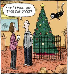 Christmas tree - Speed Bump for Funny Animal Images, Cute Funny Animals, Animal Memes, Funny Cute, Cute Cats, Hilarious, Crazy Cat Lady, Crazy Cats, Cat Comics