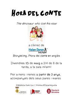 Demà a les 17.30h tenim hora del conte en anglès, a càrrec de Helen Doron #Esparreguera. No cal inscripció.
