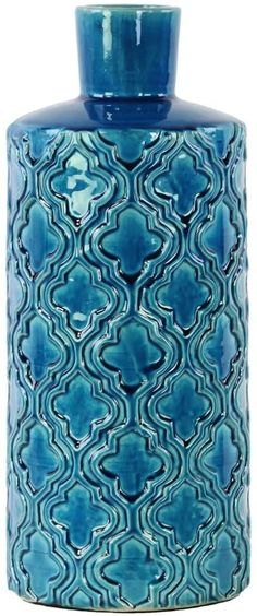Amazon.com: Urban Trends Ceramic Cylindrical Vase with Embossed Quatrefoil Pattern in LG Gloss Finish, Royal Blue: Furniture & Decor Blue Furniture, Furniture Decor, Blue Vases, Quatrefoil Pattern, Urban Trends, Royal Blue, Ceramics, Amazon, Home Decor