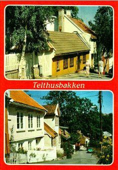 Oslo Telthusbakken 2-bilders kort 1970-tallet  Telthusbakken er en vei i området Gamle Aker som ligger i bydel St. Hanshaugen i Oslo. Veien starter i Maridalsveien og går opp til Akersbakken