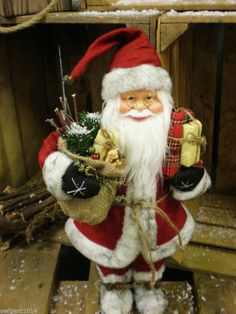 Traditional tall Santa Figure with a sack full of toys & Bear Standing 46cm Tall £27.99