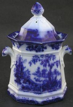 "~ Flow Blue Covered Octagonal Sugar Bowl, ""Shanghai"" Pattern by J. Farnival ~"