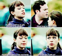 Alison questioning what the proper etiquette is for leftover dead bodies.